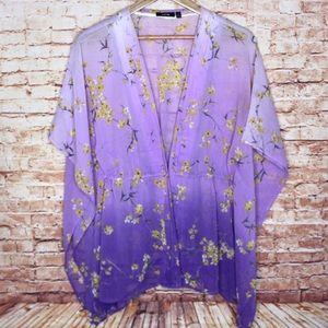 Apt. 9 | Gradient Floral Tie Front Kimono Blouse
